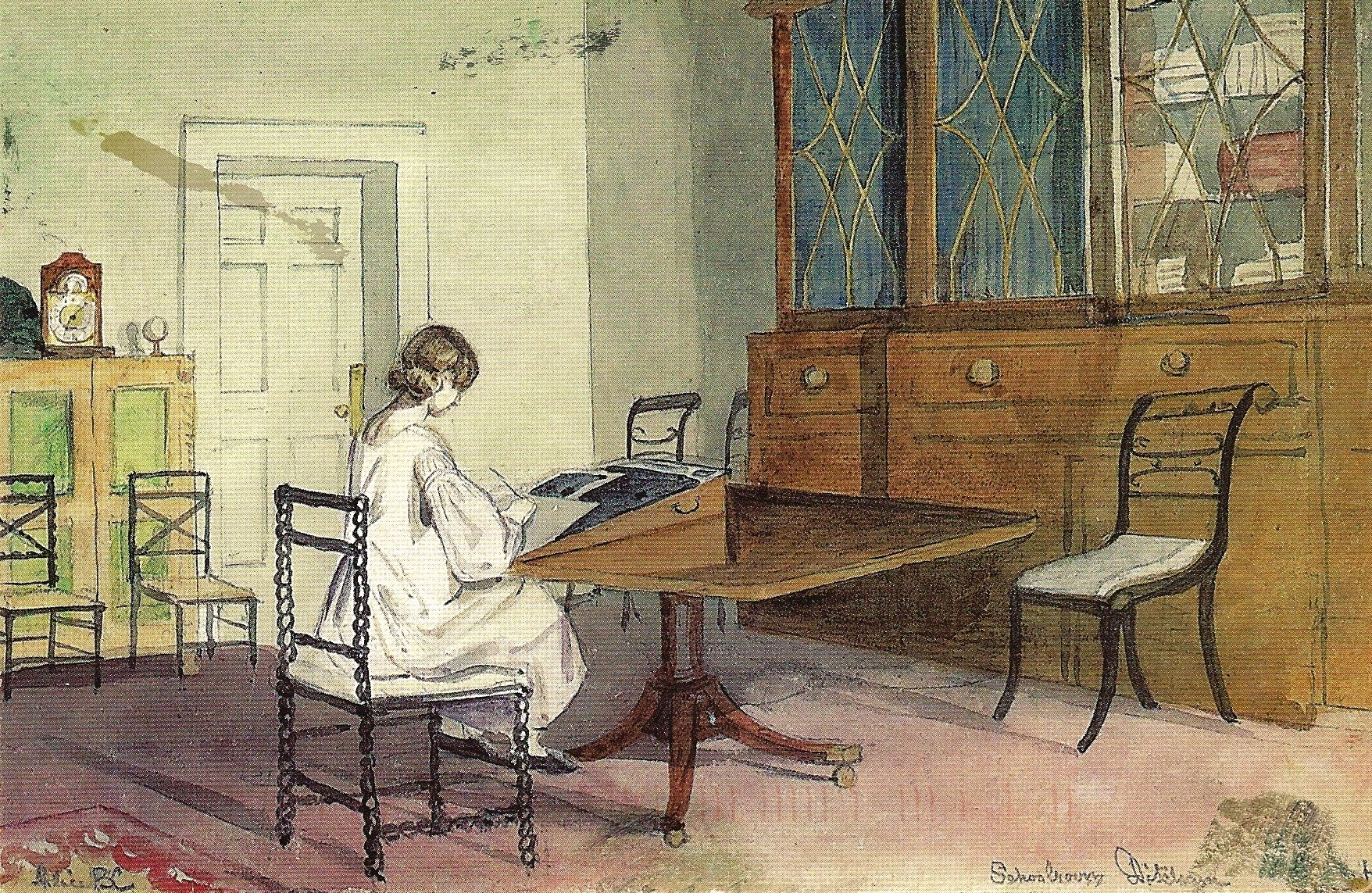 An On Line Image Of A Watercolor Genteel Lady Writing