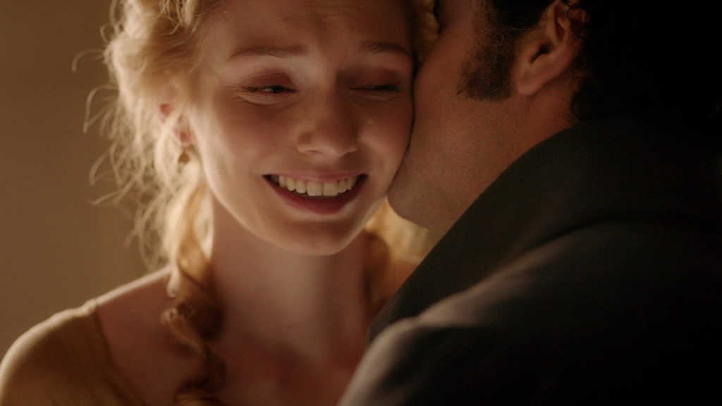 Darcy (Matthew Rhys) apologizing to Georgiana (Eleanor Tomlinson ...