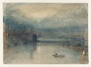 Lucerne by Moonlight: Sample Study circa 1842-3 by Joseph Mallord William Turner 1775-1851