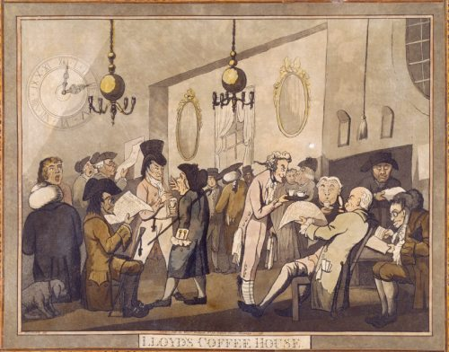 LLOYD'S COFFEE HOUSE, by George Woodward, 1798, (ref No 111) in the Caricature Room at Calke Abbey