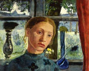 p18 Paula Modersohn-Becker (1876-1907) A Girl's Head in front of a Window 1906