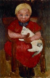 SetWidth1500-Paula-Modersohn-Becker-Sitzendes-blondes-Maedchen-mit-Katze-im-Arm-um-1905