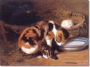 henriette-ronner-knip-a-cat-with-her-kittens-cats-kittens
