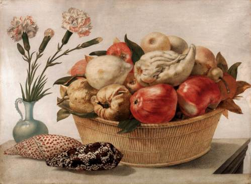 Giovanna Garzoni (Italian Baroque Era Painter, 1600-1670) Still LifeflowersFigsBean