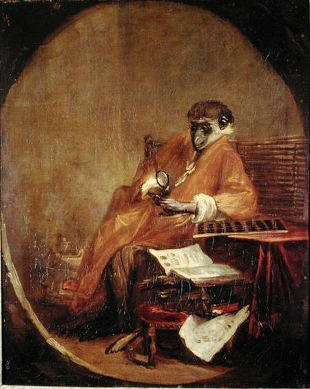 XIR188756 The Monkey Antiquarian, 1740 (oil on canvas) by Chardin, Jean-Baptiste Simeon (1699-1779) oil on canvas 81x65 Louvre, Paris, France Lauros / Giraudon French, out of copyright