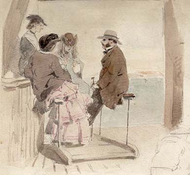 "Forence Anne Claxton -  watercolour over pencil, signed and date 1859 . This watercolour is a study for a larger work entitled ""the Lower jetty, Margate"" engraved for the Illustrated London News Oct 1 1859 p330"