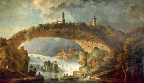 Hubert Robert – private collection. Title: Le pont sur le torrent. Date: mid 1780s. Materials: oil on canvas. Dimensions: 416 x 616 cm. Auctioned by Christie's in New York, on January 27, 2007. Source: http://commons.wikimedia.org/wiki/File:Hubert_Robert_-_Le_pont_sur_le_torrent.jpg. I have changed the contrast of the original photo.