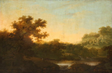Oil painting on canvas, River Landscape, with Fisherman, and distant Ruins of an Abbey, manner of George Smith of Chichester (Chichester 1714 - Chichester 1776) and John Smith (Chichester 1717 - Chichester 1764).Tall tree in foreground; river runs across the centre of the picture. A fanciful ruin of slender Gothic arches on an eminence at right. A fisherman seated on near bank.