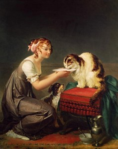 XIR64477 The Cat's Lunch (oil on canvas)  by Gerard, Marguerite (1761-1837); Musee Fragonard, Grasse, France; Giraudon; French, out of copyright
